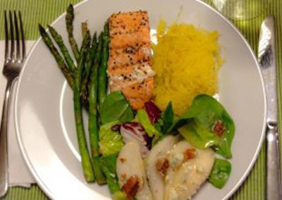 Grilled salmon w/spaghetti squash, asparagus & pear, walnut  & blue cheese salad