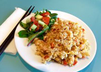 Shrimp and brown rice stir fry
